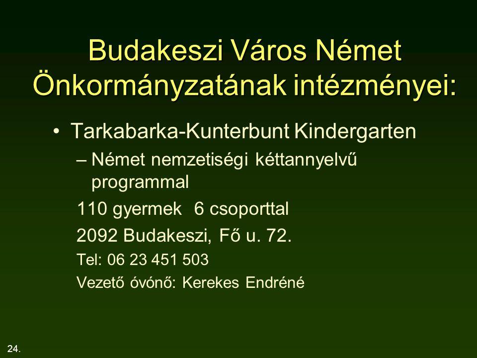 24. Budakeszi Város Német Önkormányzatának intézményei: Tarkabarka-Kunterbunt Kindergarten –Német nemzetiségi kéttannyelvű programmal 110 gyermek 6 cs