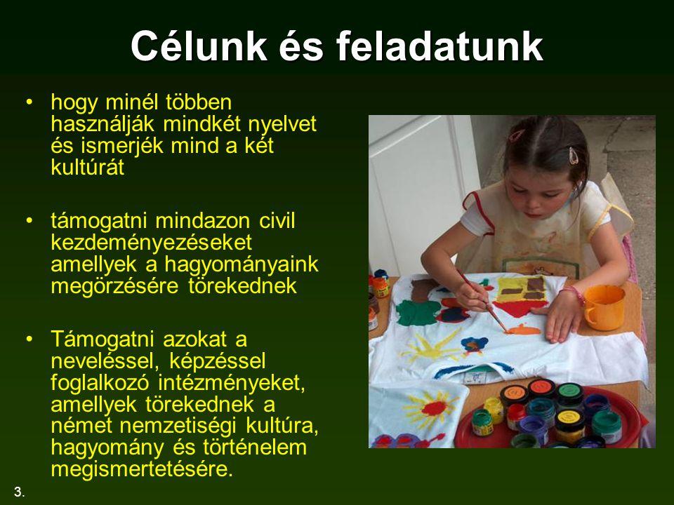 3. Célunk és feladatunk hogy minél többen használják mindkét nyelvet és ismerjék mind a két kultúrát támogatni mindazon civil kezdeményezéseket amelly