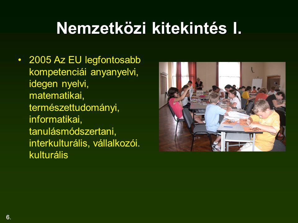 6. Nemzetközi kitekintés I. 2005 Az EU legfontosabb kompetenciái anyanyelvi, idegen nyelvi, matematikai, természettudományi, informatikai, tanulásmóds