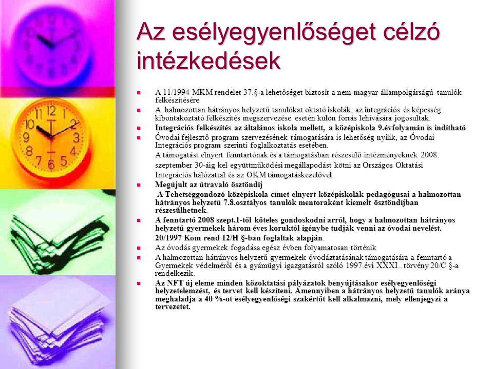 Az esélyegyenlőséget célzó intézkedések A 11/1994 MKM rendelet 37.§-a lehetőséget biztosít a nem magyar állampolgárságú tanulók felkészítésére A 11/19
