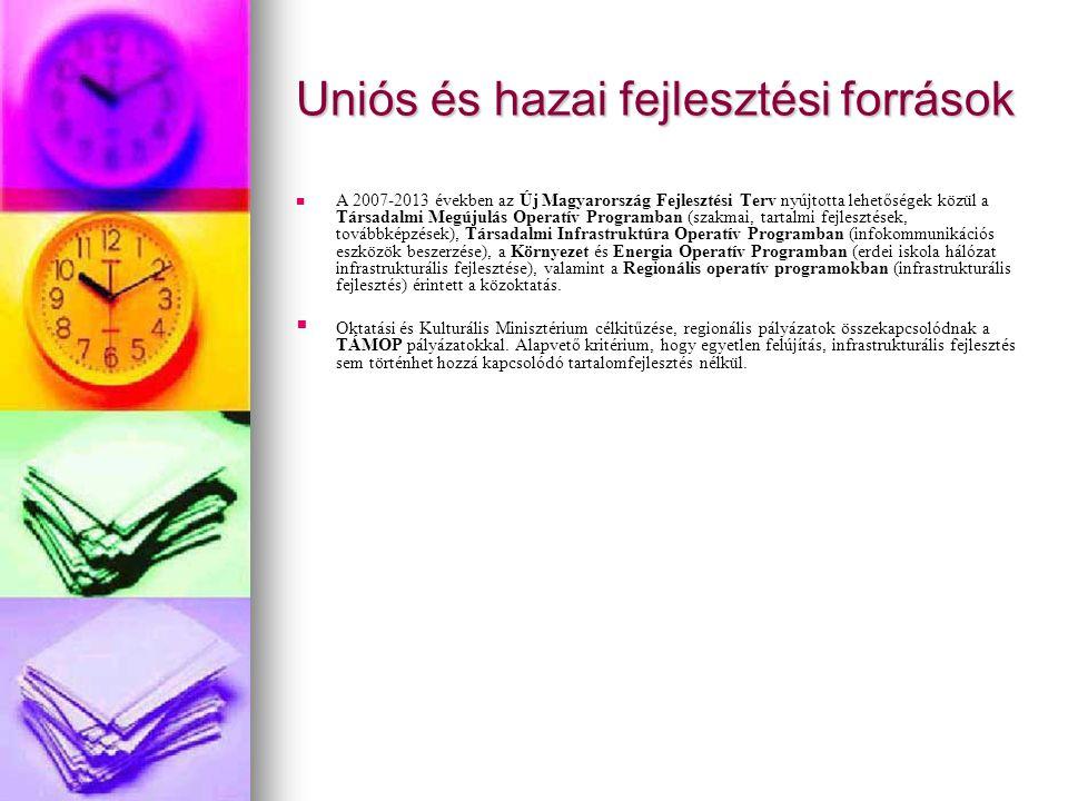 Uniós és hazai fejlesztési források A 2007-2013 években az Új Magyarország Fejlesztési Terv nyújtotta lehetőségek közül a Társadalmi Megújulás Operatí