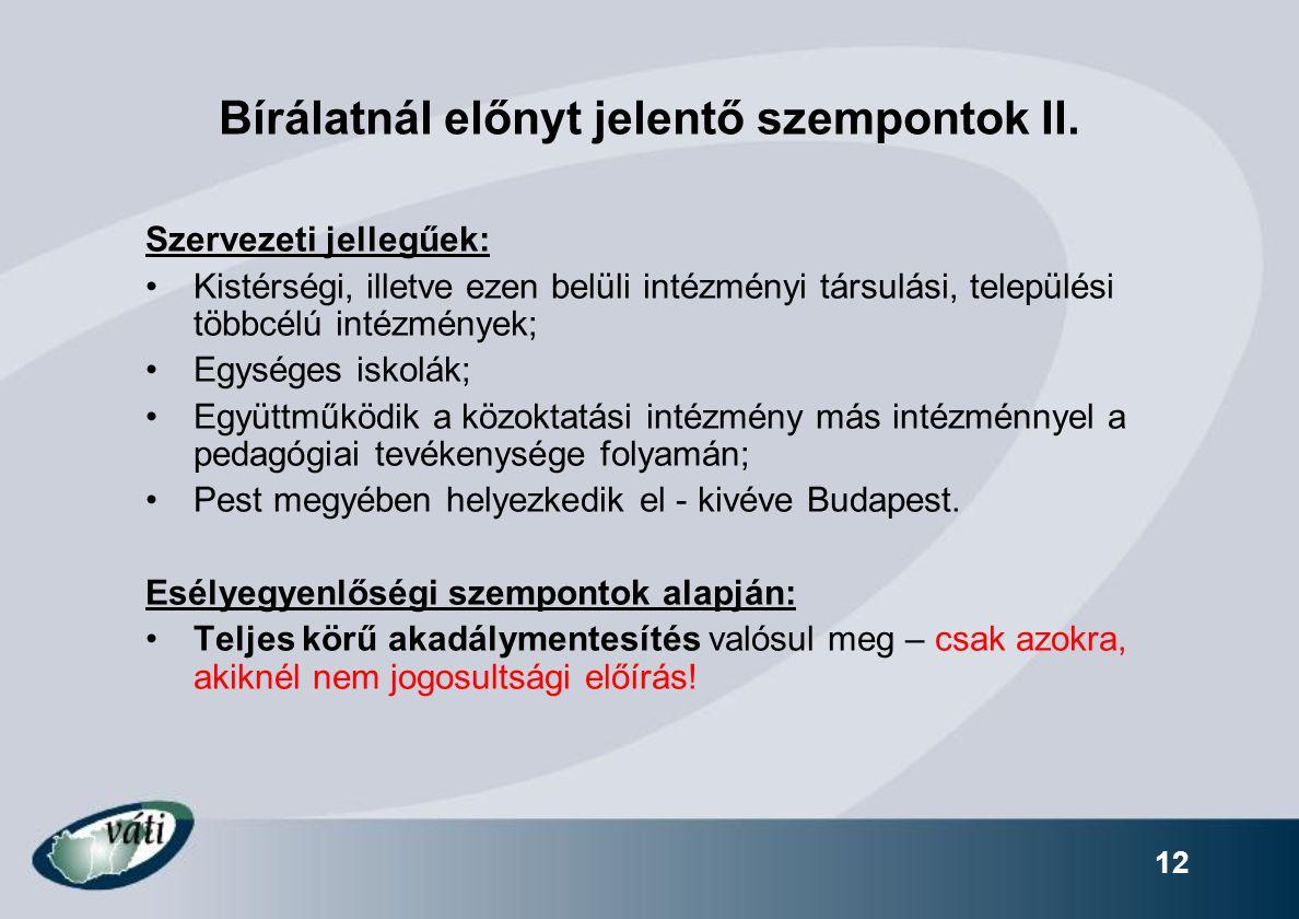 12 Bírálatnál előnyt jelentő szempontok II.