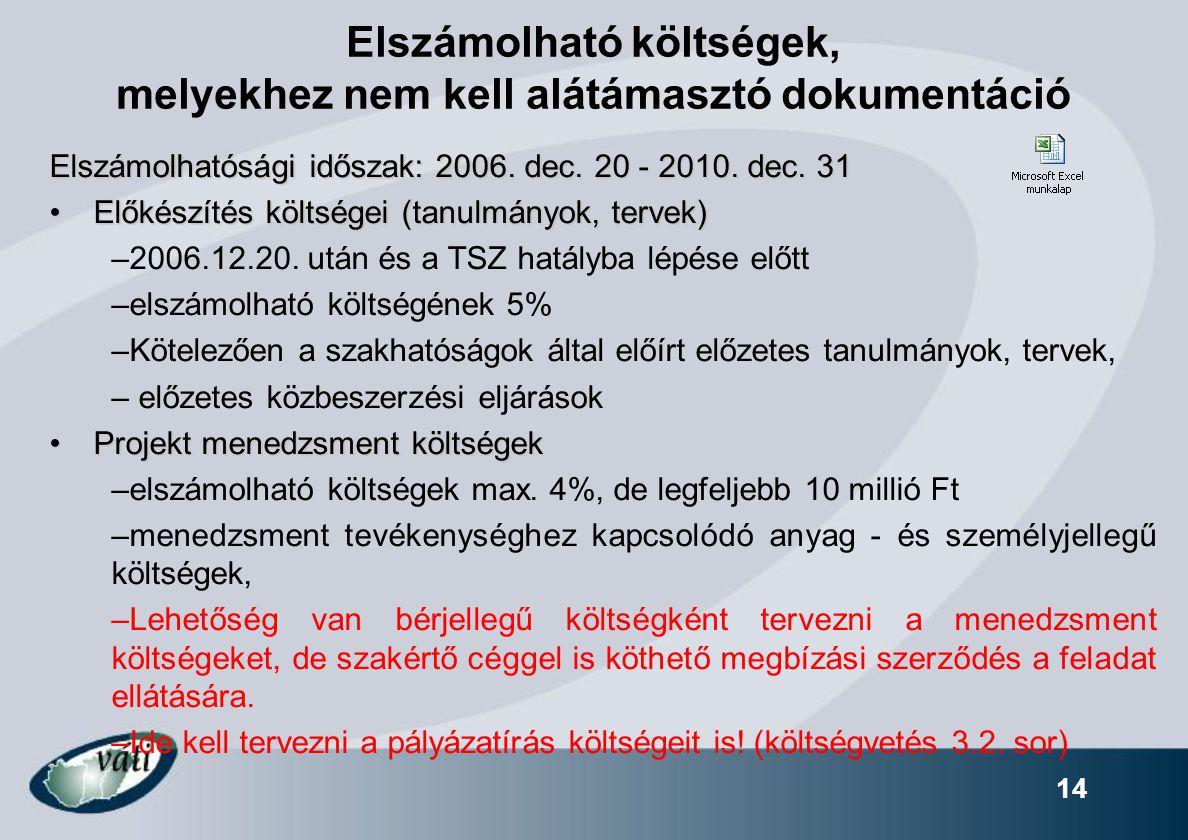 14 Elszámolható költségek, melyekhez nem kell alátámasztó dokumentáció Elszámolhatósági időszak: 2006. dec. 20 - 2010. dec. 31 Előkészítés költségei (
