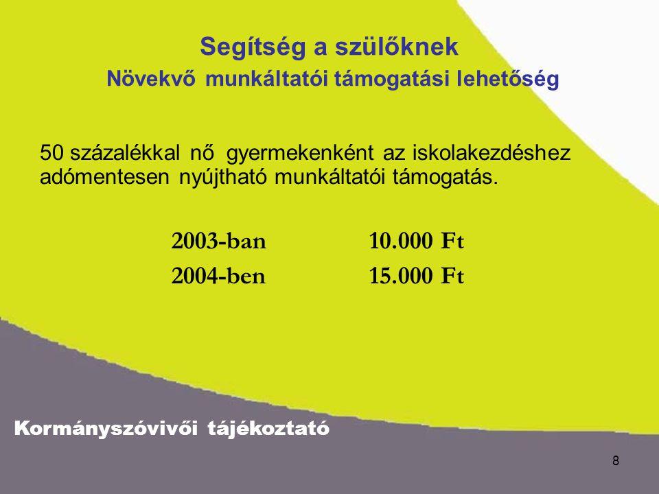 Kormányszóvivői tájékoztató 9 Segítség a szülőknek Ingyen tankönyv - rászorultsági alapon Több mint a duplájára emelkedett az ingyenes tankönyvellátás állami támogatása.
