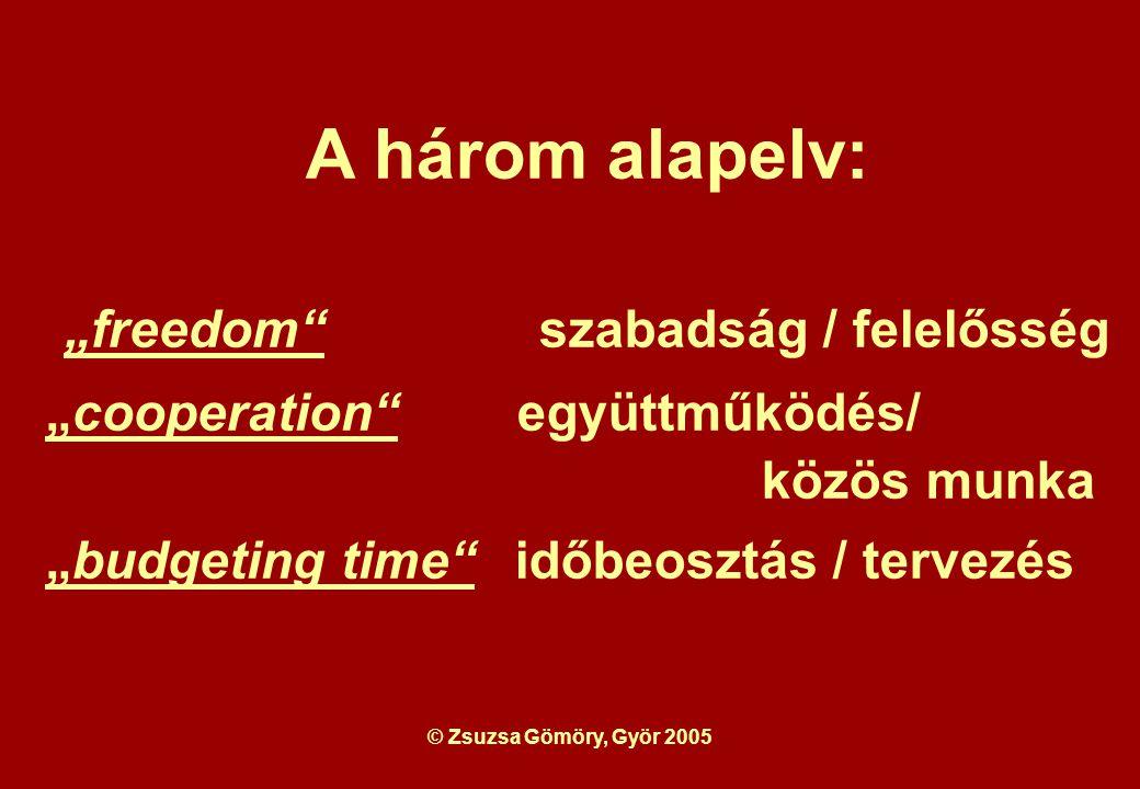 """© Zsuzsa Gömöry, Györ 2005 A három alapelv: """"freedom szabadság / felelősség """"cooperation együttműködés/ közös munka """"budgeting time időbeosztás / tervezés"""