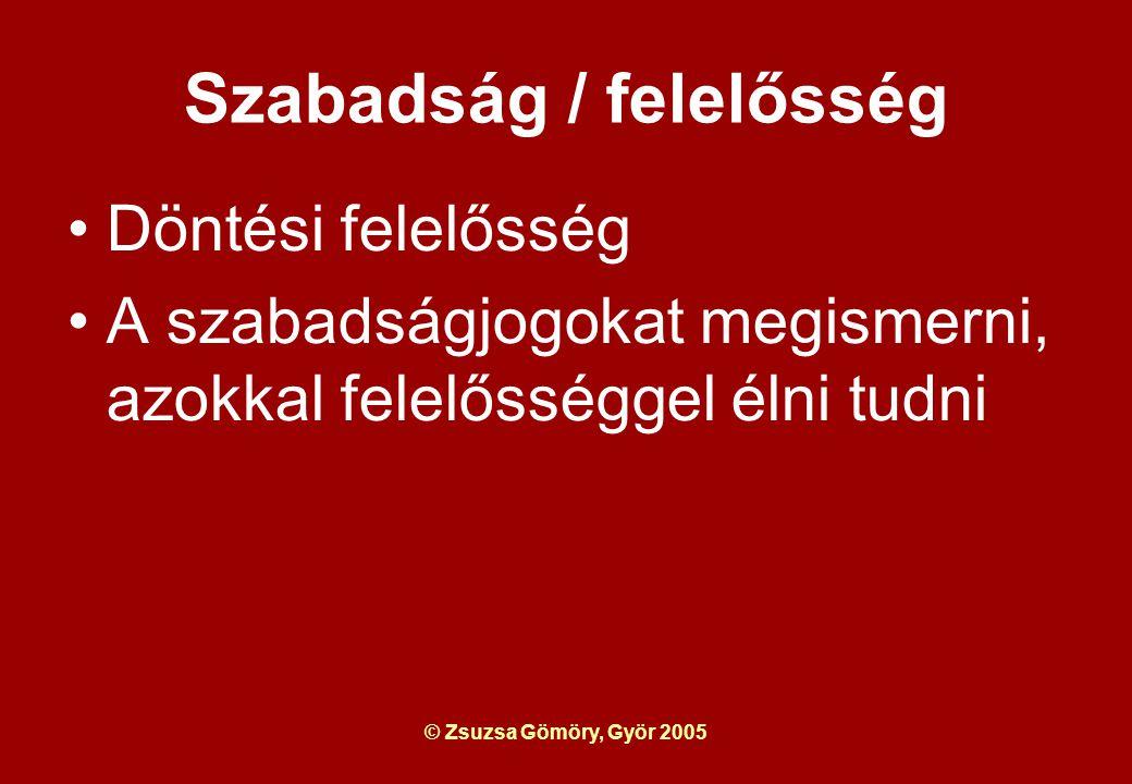© Zsuzsa Gömöry, Györ 2005 Szabadság / felelősség Döntési felelősség A szabadságjogokat megismerni, azokkal felelősséggel élni tudni