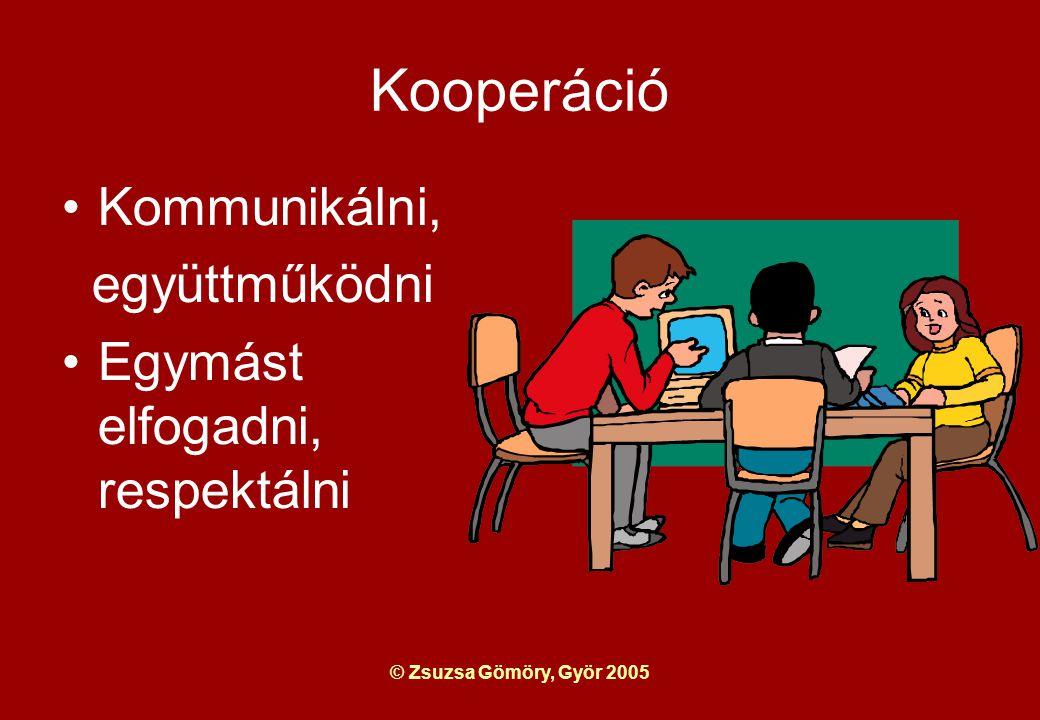 © Zsuzsa Gömöry, Györ 2005 Kooperáció Kommunikálni, együttműködni Egymást elfogadni, respektálni