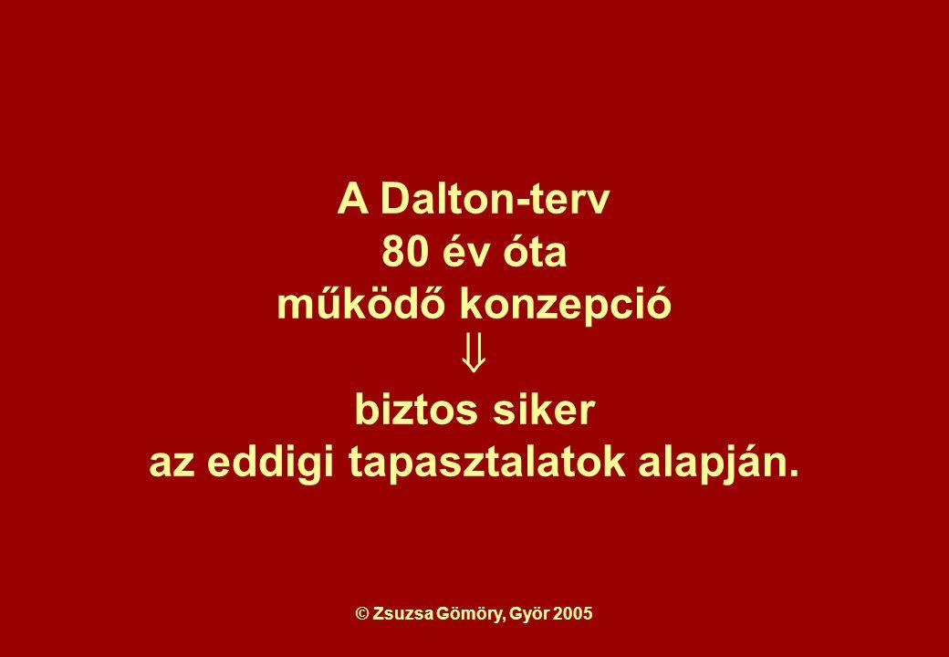 © Zsuzsa Gömöry, Györ 2005 A Dalton-terv 80 év óta működő konzepció  biztos siker az eddigi tapasztalatok alapján.