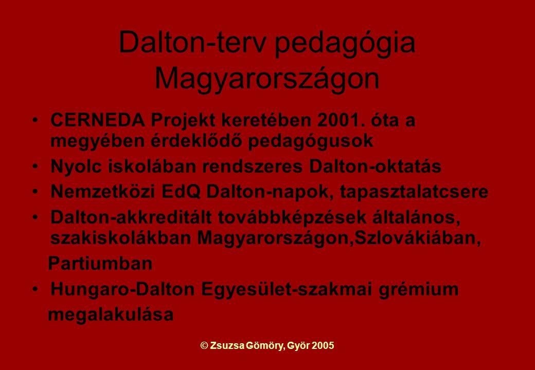 © Zsuzsa Gömöry, Györ 2005 Dalton-terv pedagógia Magyarországon CERNEDA Projekt keretében 2001.