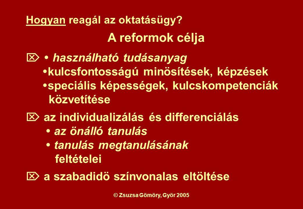 © Zsuzsa Gömöry, Györ 2005 Hogyan lehet ezeket a célokat az oktatásügyben megvalósítani.
