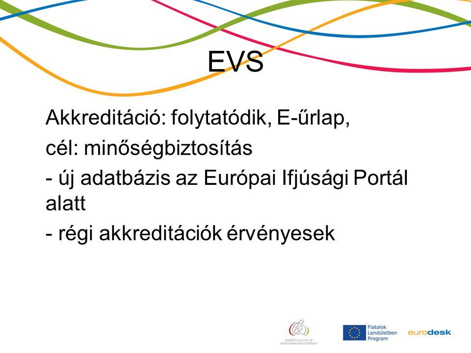 EVS Akkreditáció: folytatódik, E-űrlap, cél: minőségbiztosítás - új adatbázis az Európai Ifjúsági Portál alatt - régi akkreditációk érvényesek