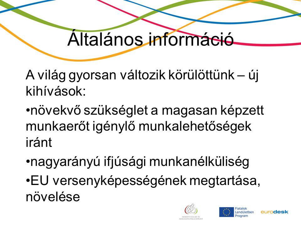 Általános információ A világ gyorsan változik körülöttünk – új kihívások: növekvő szükséglet a magasan képzett munkaerőt igénylő munkalehetőségek iránt nagyarányú ifjúsági munkanélküliség EU versenyképességének megtartása, növelése