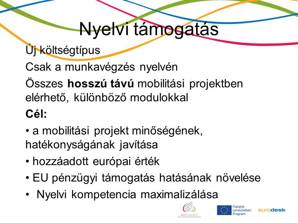 Nyelvi támogatás Új költségtípus Csak a munkavégzés nyelvén Összes hosszú távú mobilitási projektben elérhető, különböző modulokkal Cél: a mobilitási projekt minőségének, hatékonyságának javítása hozzáadott európai érték EU pénzügyi támogatás hatásának növelése Nyelvi kompetencia maximalizálása