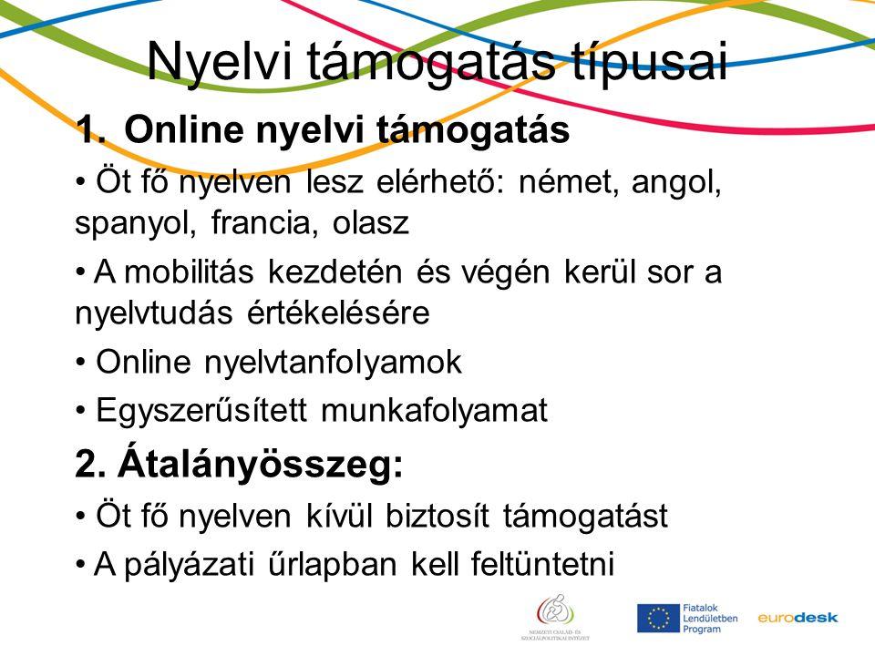 Nyelvi támogatás típusai 1.Online nyelvi támogatás Öt fő nyelven lesz elérhető: német, angol, spanyol, francia, olasz A mobilitás kezdetén és végén kerül sor a nyelvtudás értékelésére Online nyelvtanfolyamok Egyszerűsített munkafolyamat 2.