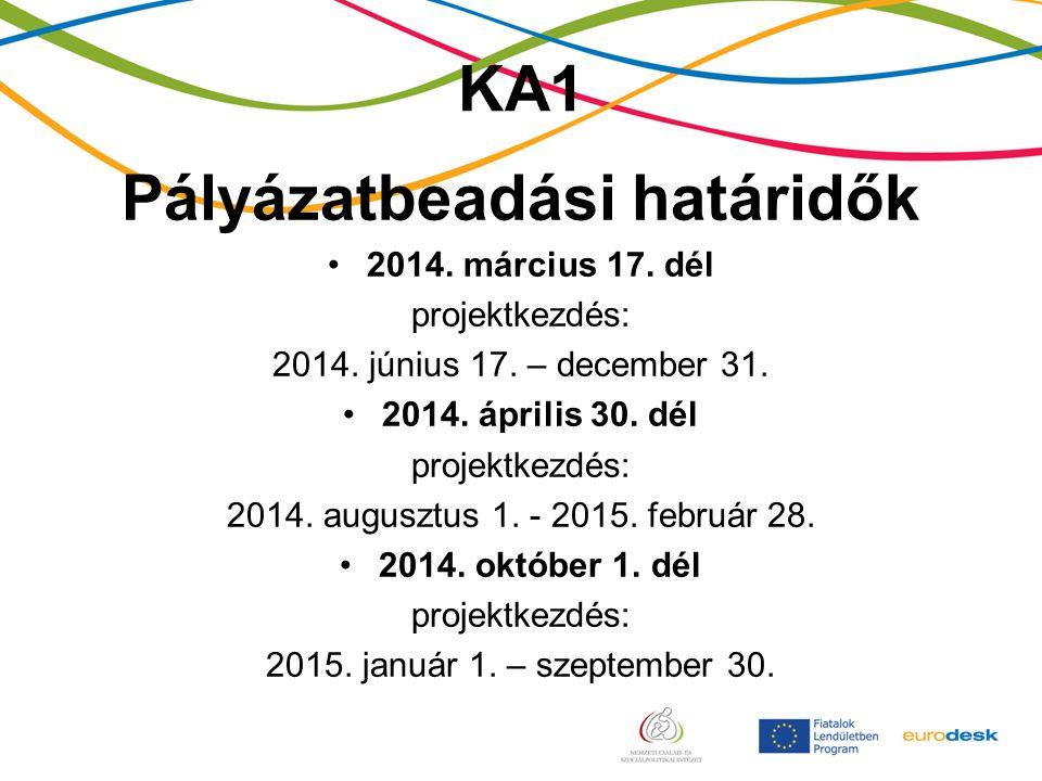 KA1 Pályázatbeadási határidők 2014. március 17. dél projektkezdés: 2014.
