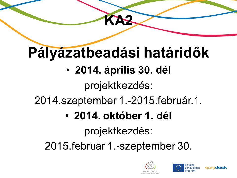 KA2 Pályázatbeadási határidők 2014. április 30.