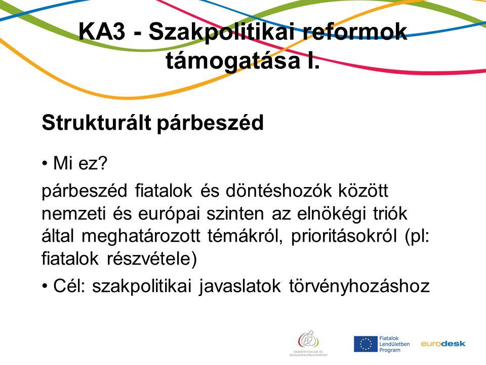 KA3 - Szakpolitikai reformok támogatása I. Strukturált párbeszéd Mi ez.