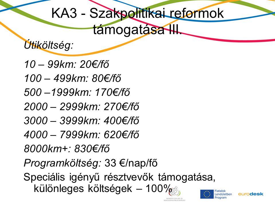 KA3 - Szakpolitikai reformok támogatása III.