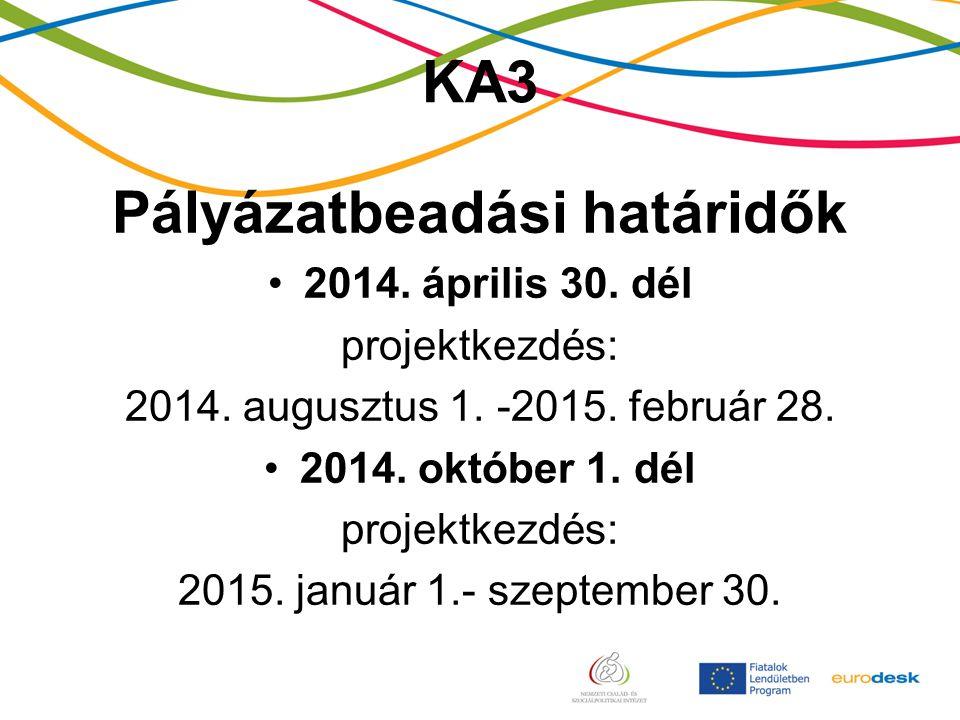 KA3 Pályázatbeadási határidők 2014. április 30. dél projektkezdés: 2014.