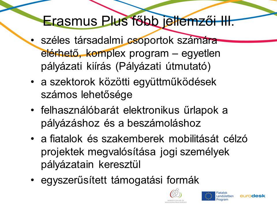 Erasmus Plus főbb jellemzői III.