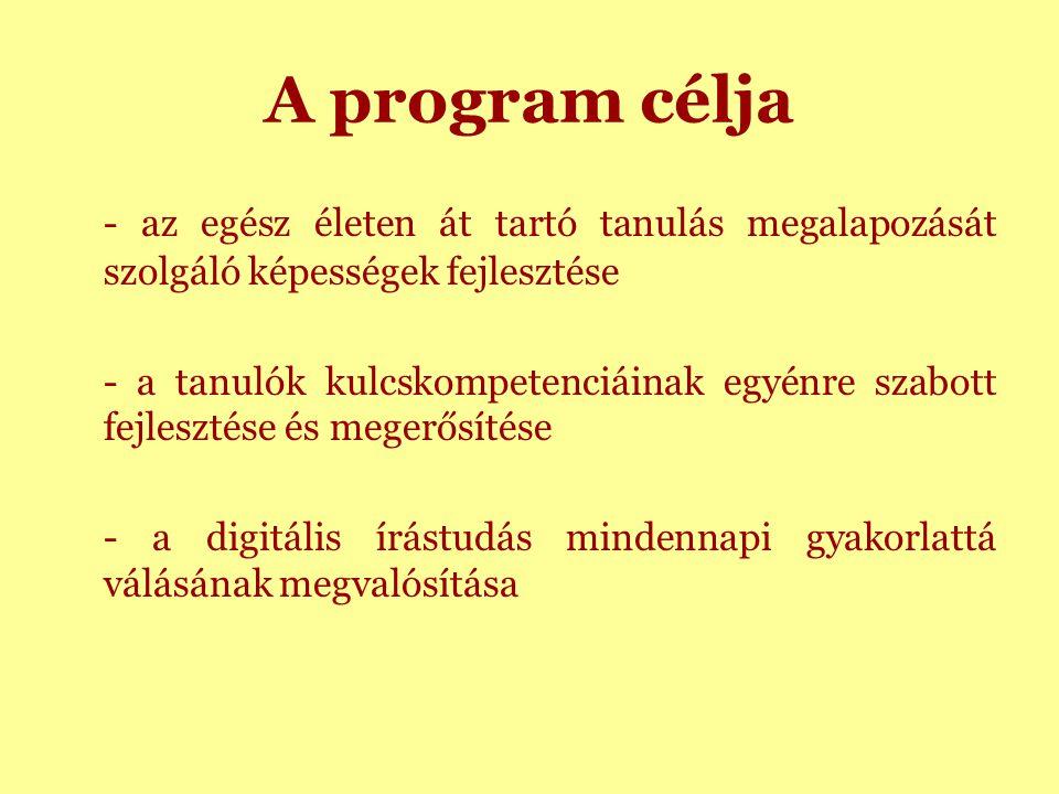 A program célja - az egész életen át tartó tanulás megalapozását szolgáló képességek fejlesztése - a tanulók kulcskompetenciáinak egyénre szabott fejlesztése és megerősítése - a digitális írástudás mindennapi gyakorlattá válásának megvalósítása