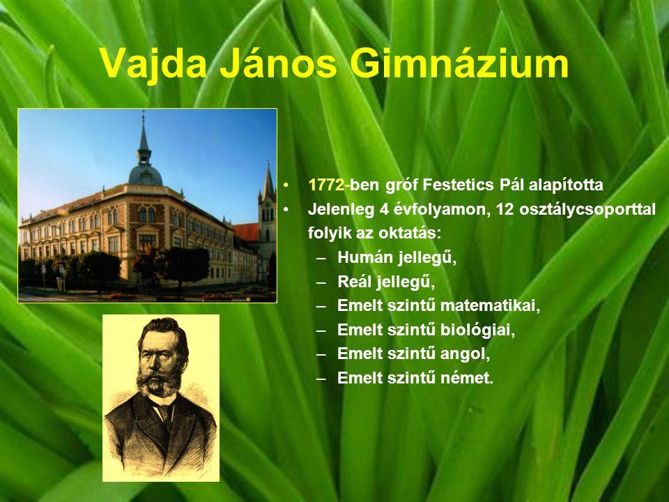 Vajda János Gimnázium 1772-ben gróf Festetics Pál alapította Jelenleg 4 évfolyamon, 12 osztálycsoporttal folyik az oktatás: –Humán jellegű, –Reál jellegű, –Emelt szintű matematikai, –Emelt szintű biológiai, –Emelt szintű angol, –Emelt szintű német.