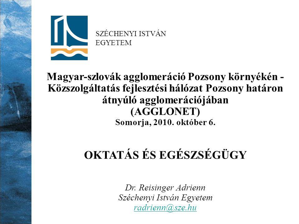 SZÉCHENYI ISTVÁN EGYETEM Magyar-szlovák agglomeráció Pozsony környékén - Közszolgáltatás fejlesztési hálózat Pozsony határon átnyúló agglomerációjában