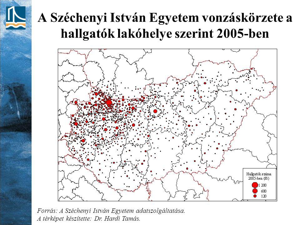 A Széchenyi István Egyetem vonzáskörzete a hallgatók lakóhelye szerint 2005-ben Forrás: A Széchenyi István Egyetem adatszolgáltatása. A térképet készí