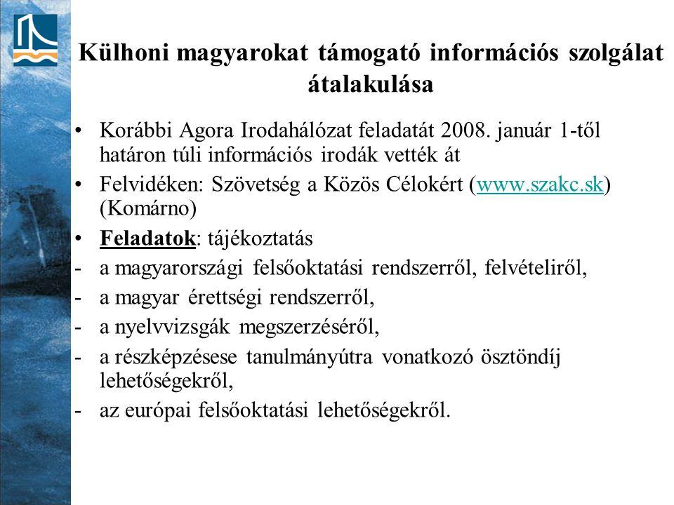 Külhoni magyarokat támogató információs szolgálat átalakulása Korábbi Agora Irodahálózat feladatát 2008. január 1-től határon túli információs irodák