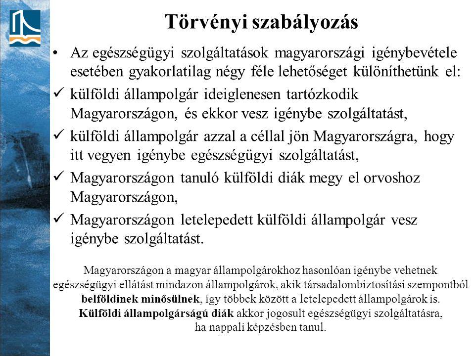 Törvényi szabályozás Az egészségügyi szolgáltatások magyarországi igénybevétele esetében gyakorlatilag négy féle lehetőséget különíthetünk el: külföld