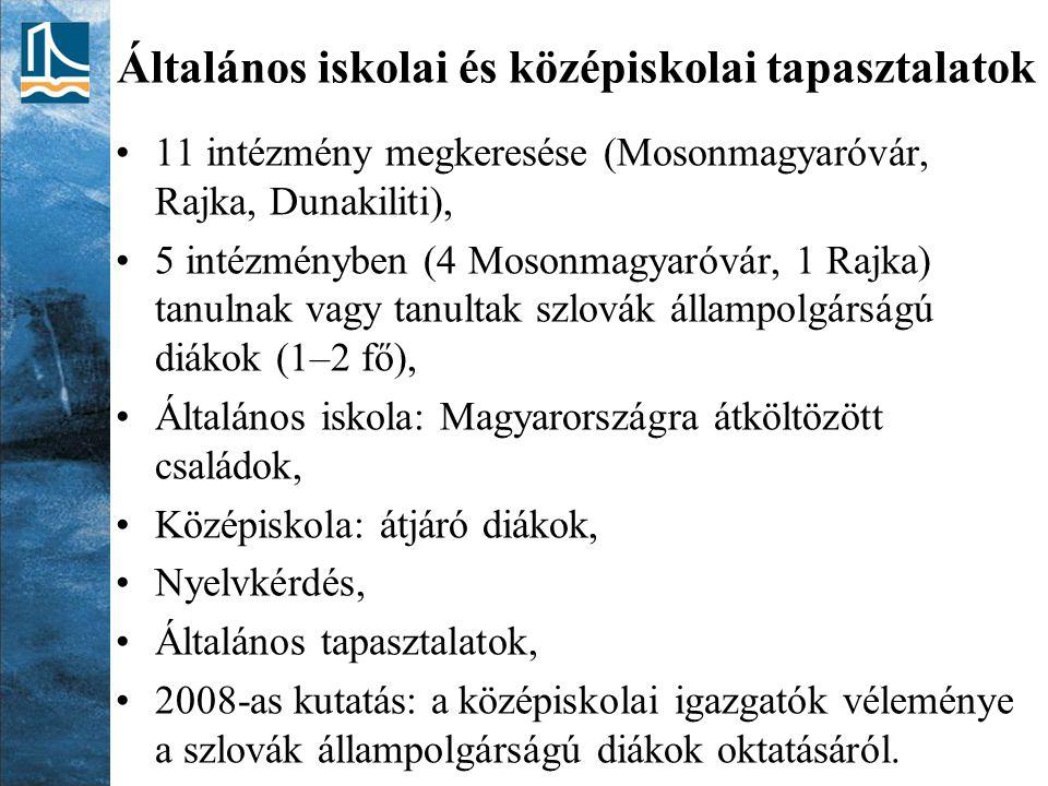 Általános iskolai és középiskolai tapasztalatok 11 intézmény megkeresése (Mosonmagyaróvár, Rajka, Dunakiliti), 5 intézményben (4 Mosonmagyaróvár, 1 Ra