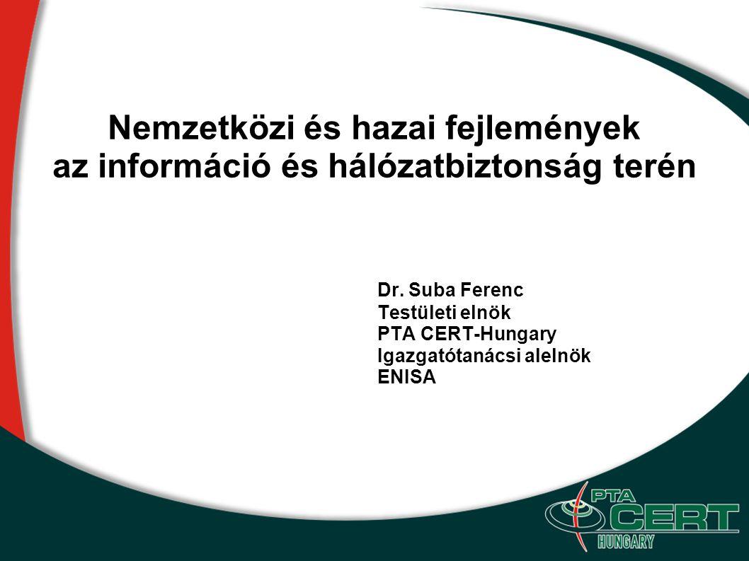 Nemzetközi és hazai fejlemények az információ és hálózatbiztonság terén Dr. Suba Ferenc Testületi elnök PTA CERT-Hungary Igazgatótanácsi alelnök ENISA