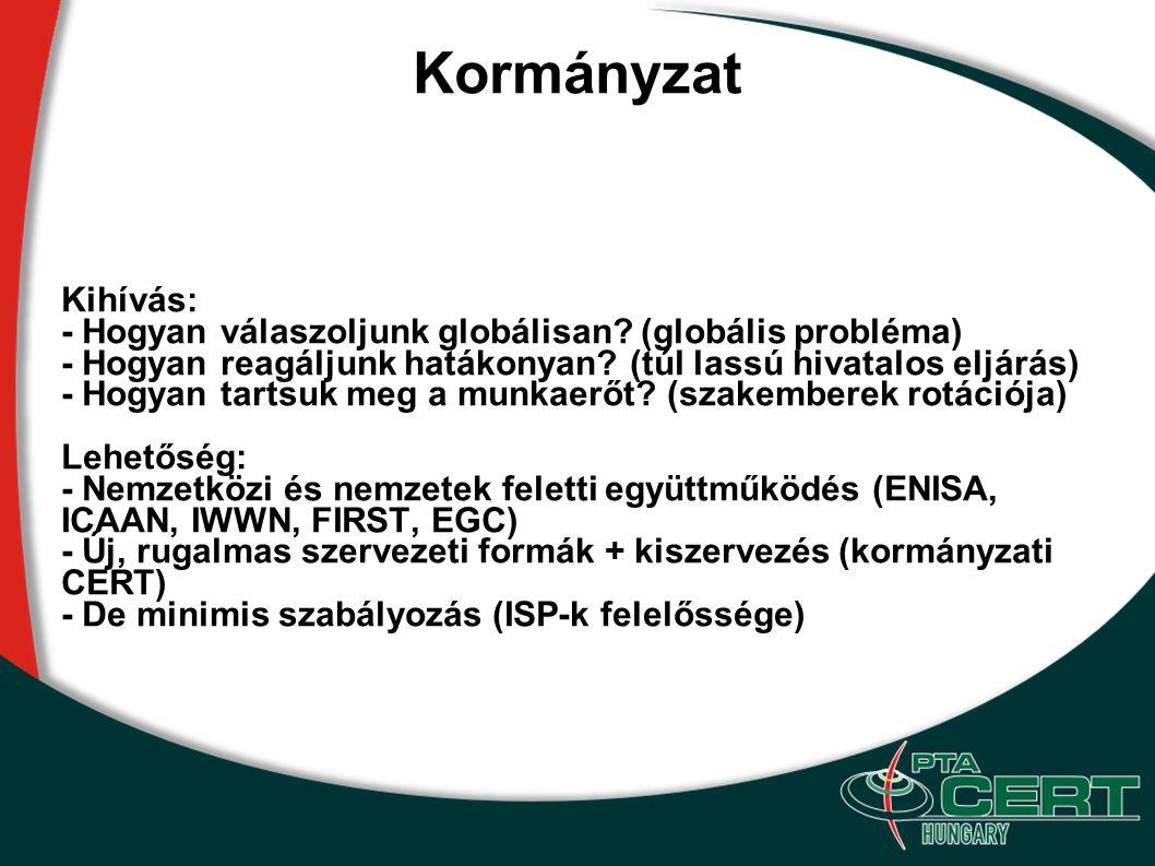 Kormányzat Kihívás: - Hogyan válaszoljunk globálisan? (globális probléma) - Hogyan reagáljunk hatákonyan? (túl lassú hivatalos eljárás) - Hogyan tarts
