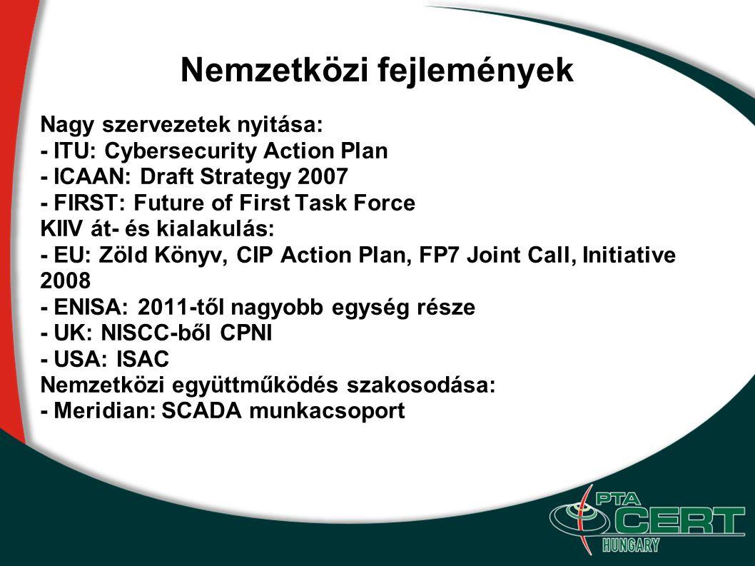 Nemzetközi fejlemények Nagy szervezetek nyitása: - ITU: Cybersecurity Action Plan - ICAAN: Draft Strategy 2007 - FIRST: Future of First Task Force KII