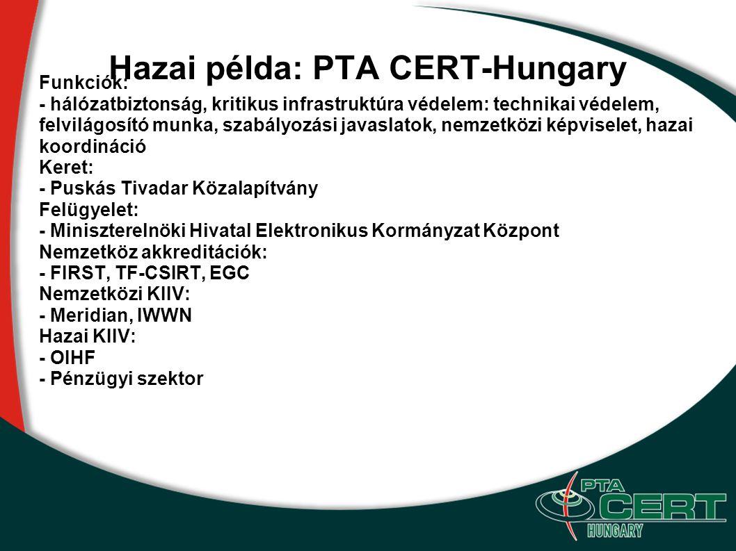 Hazai példa: PTA CERT-Hungary Funkciók: - hálózatbiztonság, kritikus infrastruktúra védelem: technikai védelem, felvilágosító munka, szabályozási java