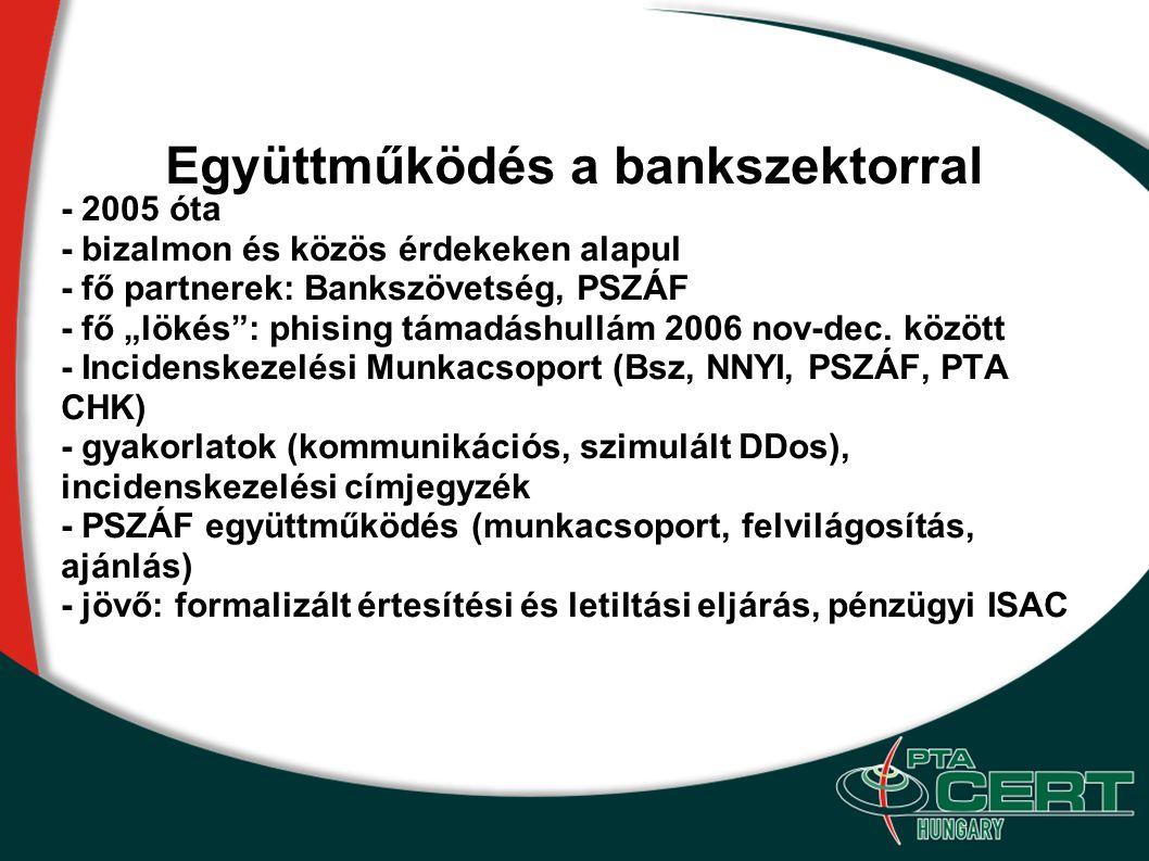 """Együttműködés a bankszektorral - 2005 óta - bizalmon és közös érdekeken alapul - fő partnerek: Bankszövetség, PSZÁF - fő """"lökés"""": phising támadáshullá"""