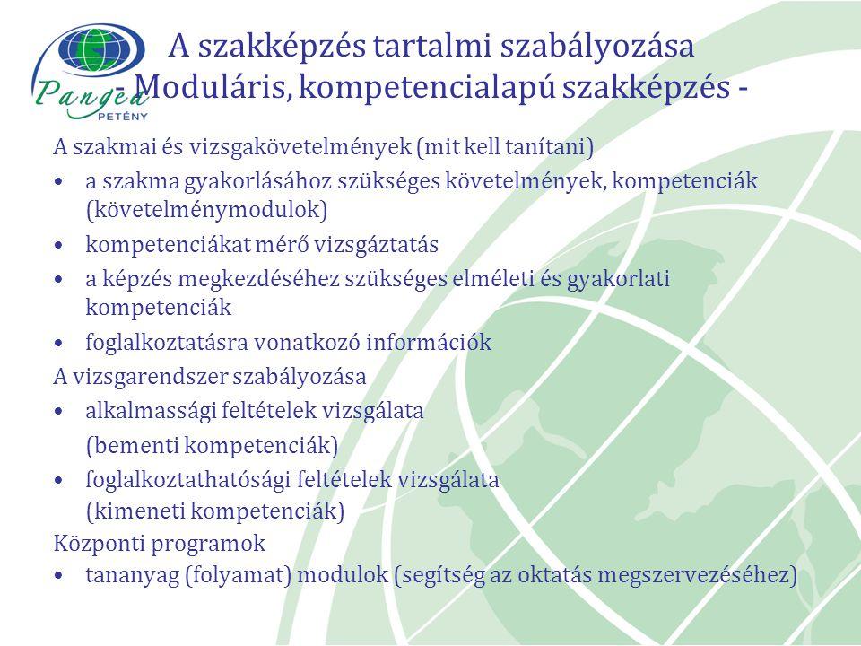 A szakképzés tartalmi szabályozása - Moduláris, kompetencialapú szakképzés - A szakmai és vizsgakövetelmények (mit kell tanítani) a szakma gyakorlásáh