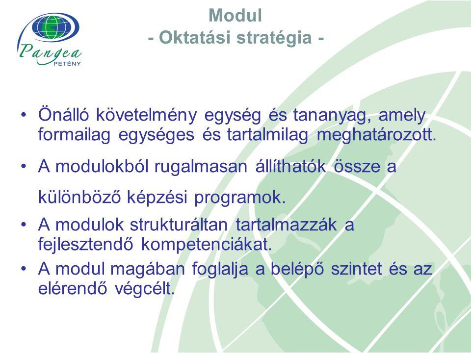 Modul - Oktatási stratégia - Önálló követelmény egység és tananyag, amely formailag egységes és tartalmilag meghatározott. A modulokból rugalmasan áll