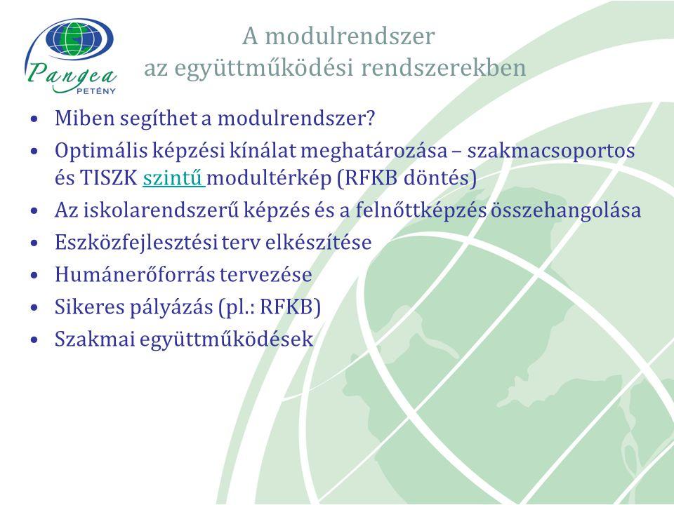 A modulrendszer az együttműködési rendszerekben Miben segíthet a modulrendszer? Optimális képzési kínálat meghatározása – szakmacsoportos és TISZK szi