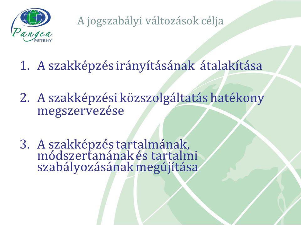 A jogszabályi változások célja 1.A szakképzés irányításának átalakítása 2.A szakképzési közszolgáltatás hatékony megszervezése 3.A szakképzés tartalmá