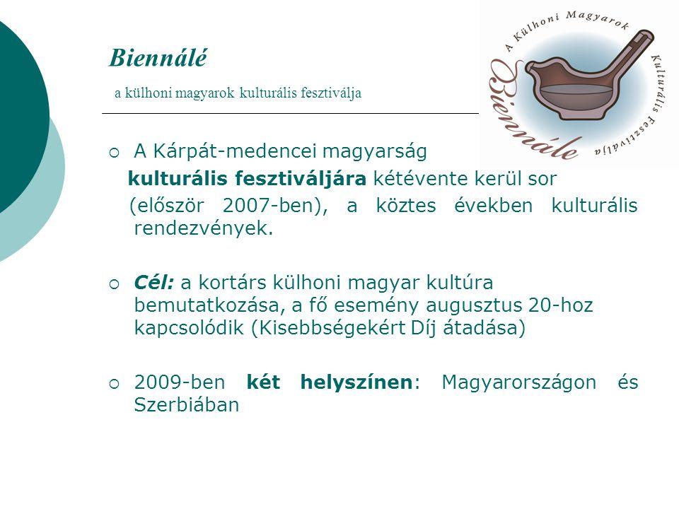 Biennálé a külhoni magyarok kulturális fesztiválja  A Kárpát-medencei magyarság kulturális fesztiváljára kétévente kerül sor (először 2007-ben), a köztes években kulturális rendezvények.