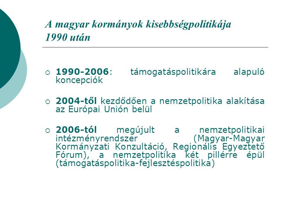 A magyar kormányok kisebbségpolitikája 1990 után  1990-2006: támogatáspolitikára alapuló koncepciók  2004-től kezdődően a nemzetpolitika alakítása az Európai Unión belül  2006-tól megújult a nemzetpolitikai intézményrendszer (Magyar-Magyar Kormányzati Konzultáció, Regionális Egyeztető Fórum), a nemzetpolitika két pillérre épül (támogatáspolitika-fejlesztéspolitika)
