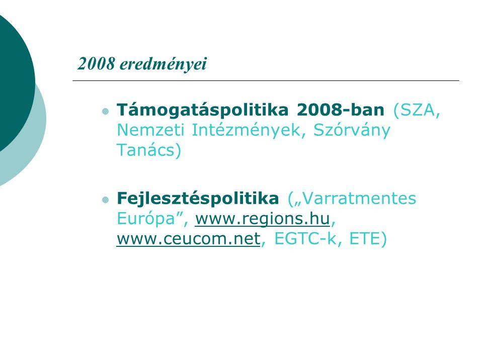 """2008 eredményei Támogatáspolitika 2008-ban (SZA, Nemzeti Intézmények, Szórvány Tanács) Fejlesztéspolitika (""""Varratmentes Európa"""", www.regions.hu, www."""