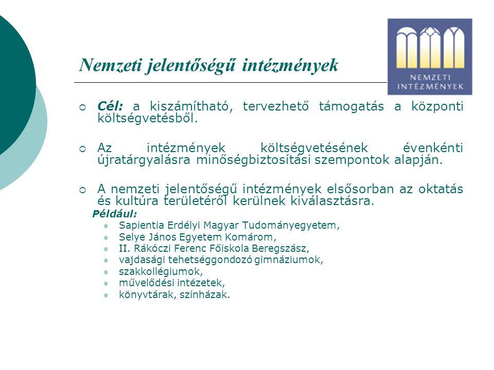 Nemzeti jelentőségű intézmények  Cél: a kiszámítható, tervezhető támogatás a központi költségvetésből.  Az intézmények költségvetésének évenkénti új