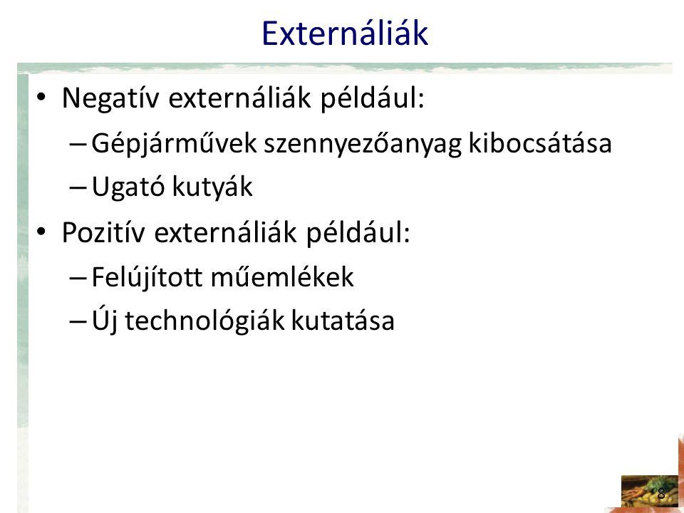 Externáliák Negatív externáliák például: – Gépjárművek szennyezőanyag kibocsátása – Ugató kutyák Pozitív externáliák például: – Felújított műemlékek – Új technológiák kutatása 8