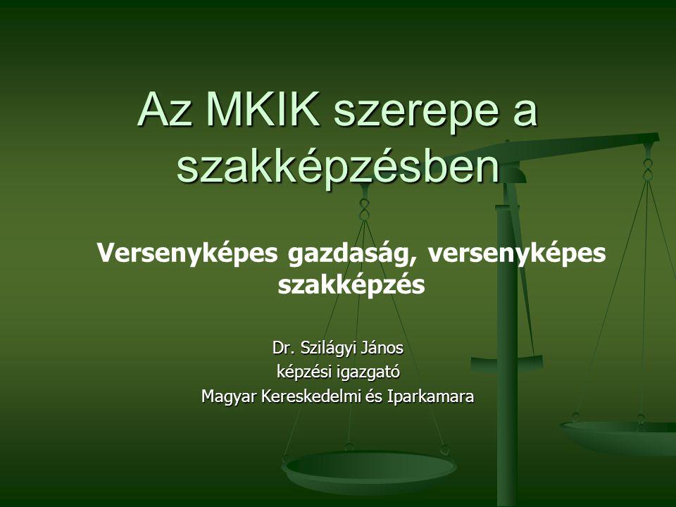Az MKIK szerepe a szakképzésben Dr. Szilágyi János képzési igazgató Magyar Kereskedelmi és Iparkamara Versenyképes gazdaság, versenyképes szakképzés