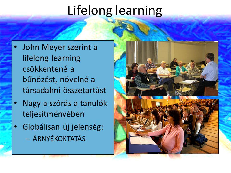 Lifelong learning John Meyer szerint a lifelong learning csökkentené a bűnözést, növelné a társadalmi összetartást Nagy a szórás a tanulók teljesítmén
