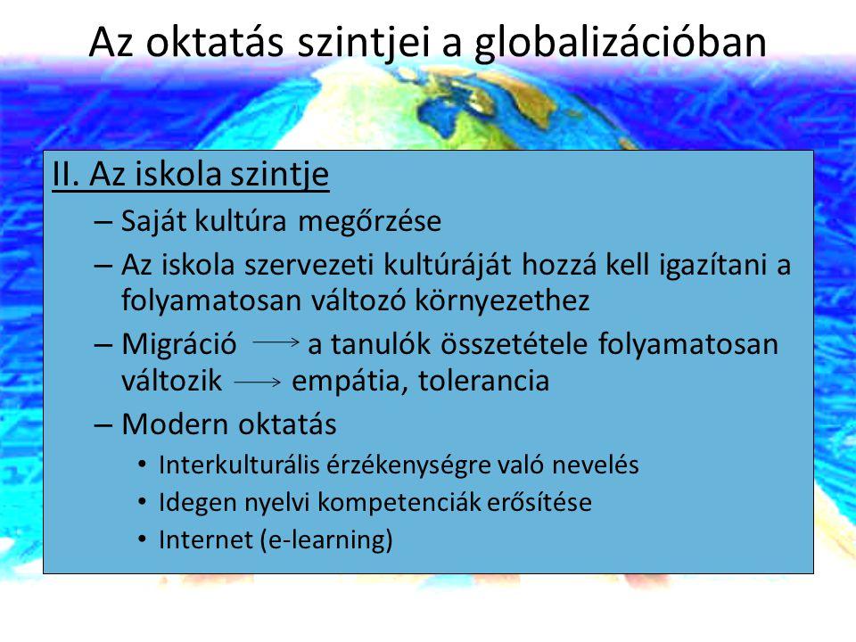 Az oktatás szintjei a globalizációban II. Az iskola szintje – Saját kultúra megőrzése – Az iskola szervezeti kultúráját hozzá kell igazítani a folyama