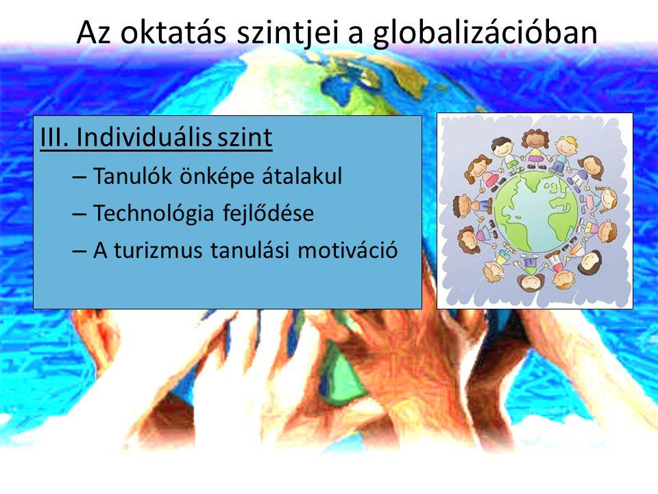 Az oktatás szintjei a globalizációban III. Individuális szint – Tanulók önképe átalakul – Technológia fejlődése – A turizmus tanulási motiváció