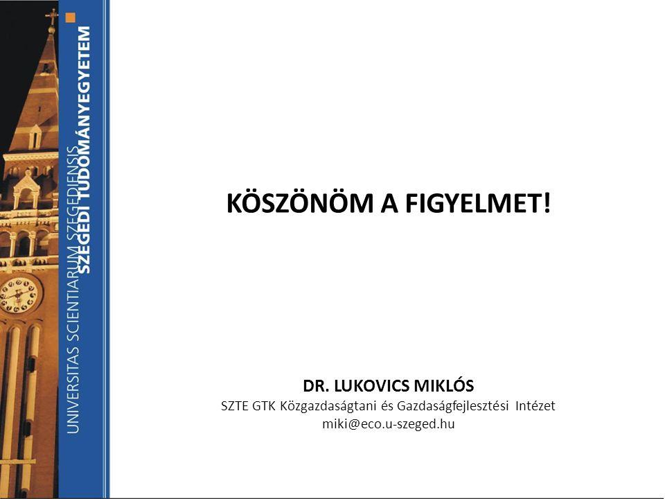 KÖSZÖNÖM A FIGYELMET! DR. LUKOVICS MIKLÓS SZTE GTK Közgazdaságtani és Gazdaságfejlesztési Intézet miki@eco.u-szeged.hu